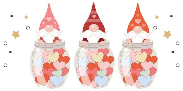 Коллекция вырезанных гномов в тематике дня святого валентина