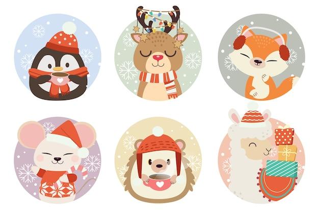 Коллекция милых животных в кругу со снегом