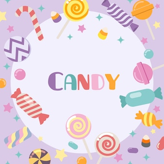 紫色の背景でかわいいキャンディーのコレクション。フラットスタイルのかわいいキャンディのfre。