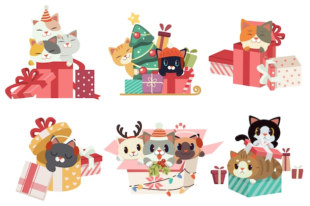 フラットなベクトルスタイルでクリスマスの日にギフトボックスを再生するかわいい猫のコレクション。
