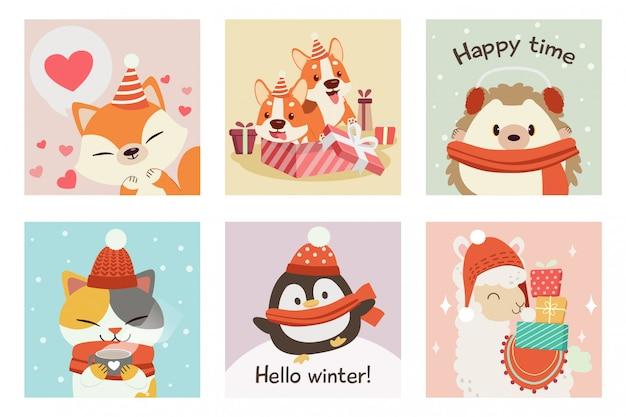 冬とクリスマスのテーマセットのかわいいキツネ、コーギー、ハリネズミ、猫、ペンギン、アルパカのコレクション
