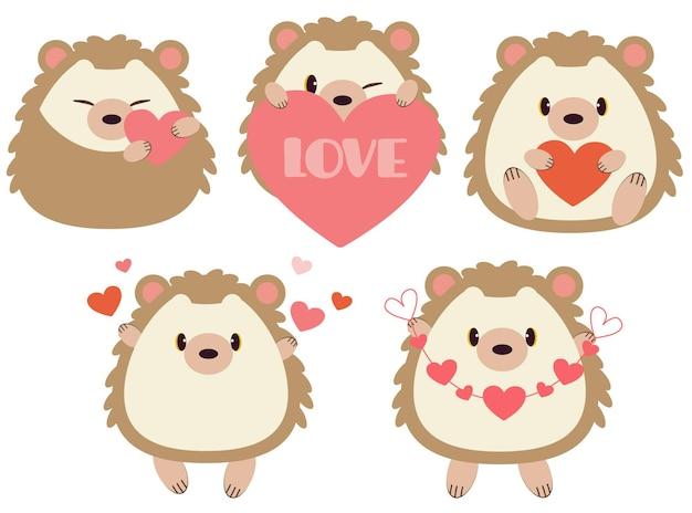 마음을 가진 귀여운 고슴도치 컬렉션