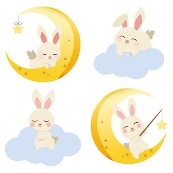 月と雲のフラットの図にかわいいウサギのコレクション