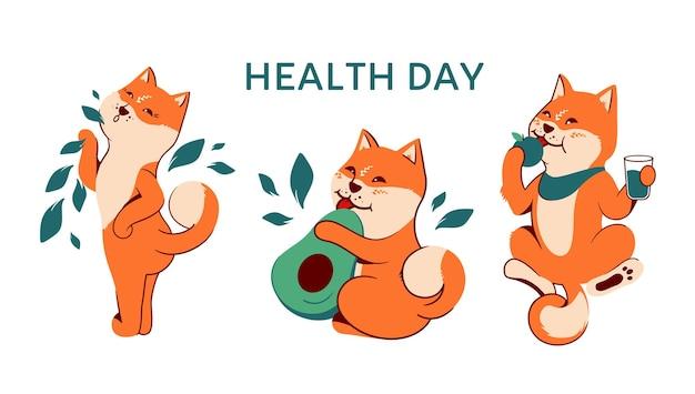 건강한 라이프 스타일을위한 아키타 개 컬렉션입니다. 건강의 날