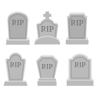 平らなベクトルスタイルの墓または墓石のコレクション。 graveに関するグラフィックリソース、ハロウィーン