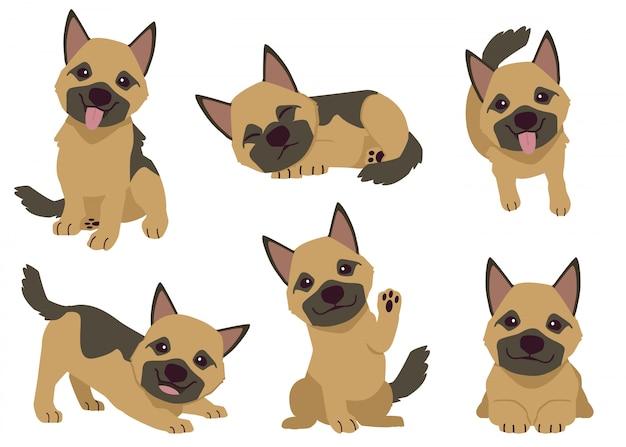 多くのアクションで子犬ジャーマンシェパードレトリーバーのコレクション。