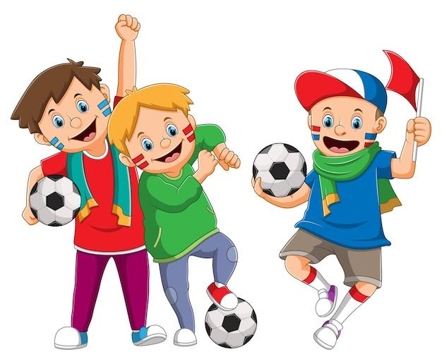 男の子のコレクションは、イラストの幸せそうな顔でサッカーをサポートしています