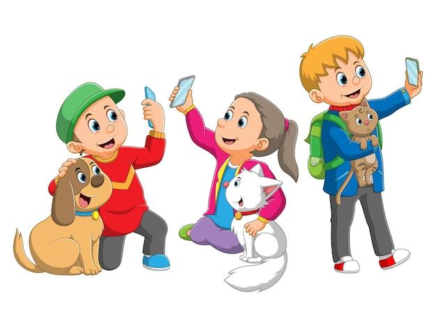 子供たちのコレクションは、イラストの動物と一緒に自分撮りです