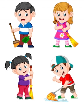 Сбор детей, выполняющих ежедневные домашние дела