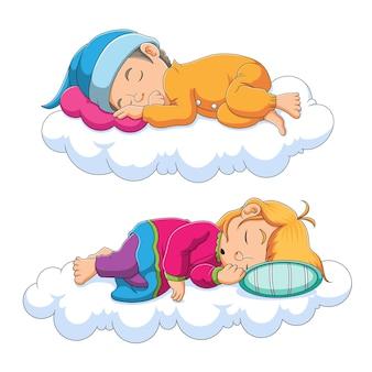 Коллекция детей, спящих на облаке иллюстрации