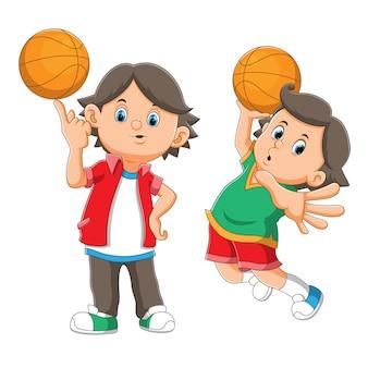 イラストのバスケットボールをしているクールな男の子のコレクション
