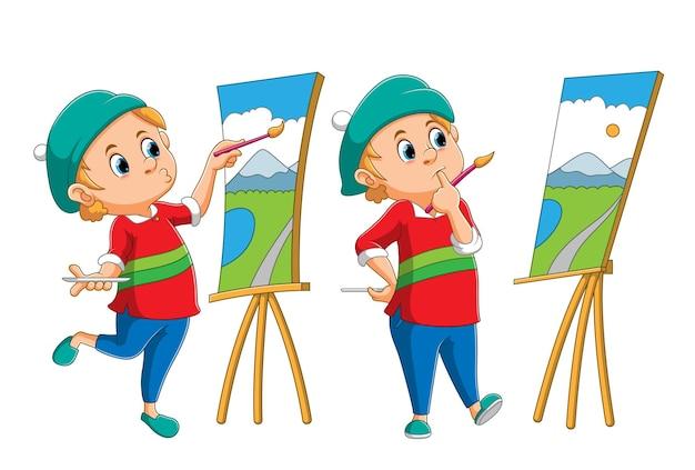 화가의 컬렉션은 일러스트레이션의 캔버스에 풍경을 그리고 있습니다.