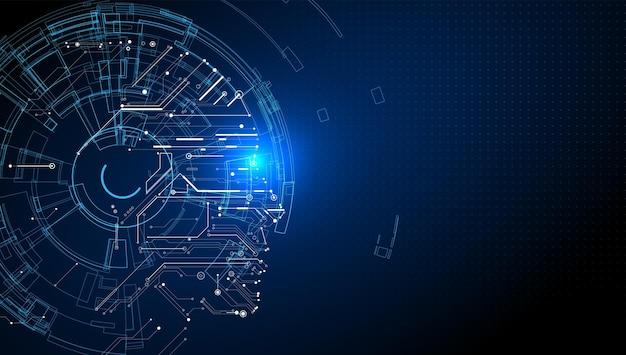 회로와 머리 모양의 조합, 인공 지능, 전자 세계 그림의 도덕.