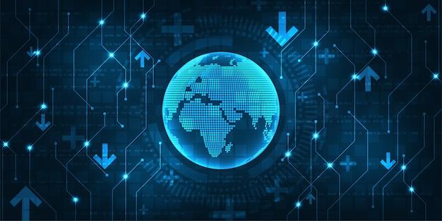 많은 네트워크와 정보가있는 디지털 세계의 복잡성.