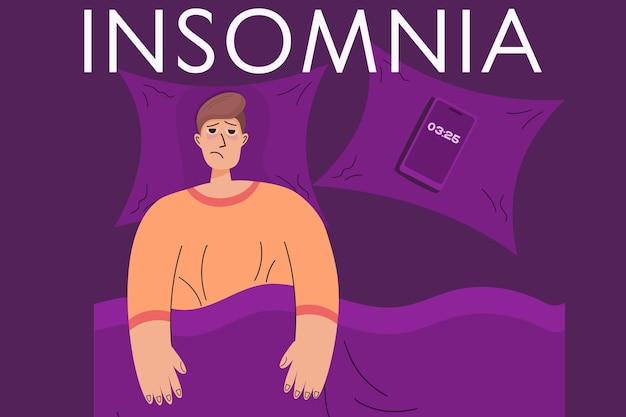 남자와 불면증 개념 피곤한 사람은 침대에 누워 잠을 잘 수 없습니다. 불안