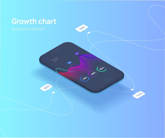 성장 지표 다채로운 인포 그래픽의 그래프와 함께 모바일 응용 프로그램의 개념