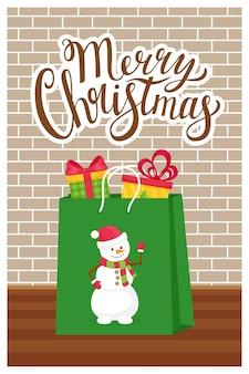 新年のコンセプト、メリークリスマスという言葉のクリスマスグリーティングカード。