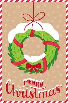 새 해, 메리 크리스마스 단어와 함께 크리스마스 인사말 카드의 개념.