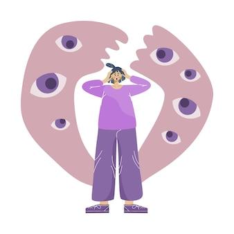 Выделено понятие тревожного расстройства и страха преследовать девушку с надвигающимися глазами.