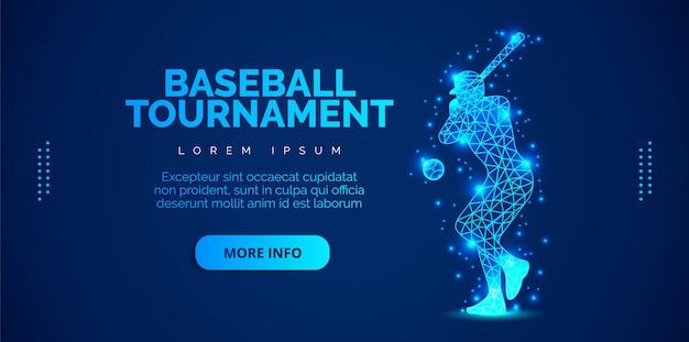 파란색 배경에 야구를하는 남자의 예술의 개념. 템플릿 브로셔, 전단지, 프리젠 테이션, 로고, 인쇄, 전단지, 배너.