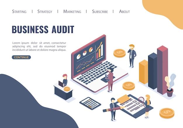 ビジネス監査の概念。プロの監査アドバイス。アイソメ図スタイル。