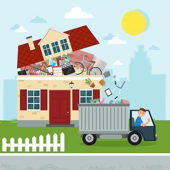 과도한 소비의 개념 집 붕괴