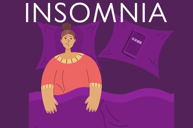 여성 불면증의 개념입니다. 피곤한 여자가 침대에 누워 잠들지 못하는 수면 장애. 불안한 사람을 위한 침대. 평면 스타일의 벡터 일러스트 레이 션.