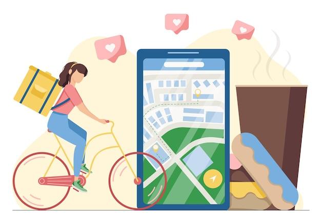 Концепция доставки еды через онлайн-приложение из ресторанов и кафе