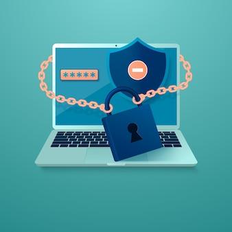 ロックとキーの下のラップトップの形でのインターネット セキュリティと個人データのプライバシーの概念
