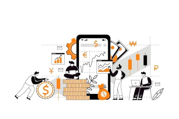 投資と収入の掛け算の概念。株式や資金の購入。投資家戦略、資金調達の概念。キャラクターは投資ブローカーの助けを借りて株式市場を分析します。