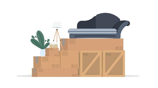 집으로 이사하는 개념. 새로운 곳으로 이사. 나무 상자, 판지 상자, 소파, 관엽 식물, 플로어 램프. 외딴. .