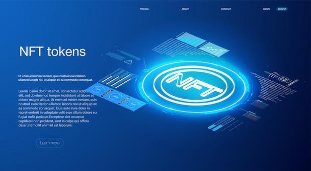 어두운 파란색 배경에 작동하지 않는 nft 토큰의 개념 hud ui gui 스타일의 파란색 빛나는 전기 조명이 있는 bitcoin 개념적 배경