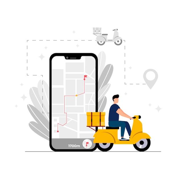 가정 및 사무실 배달을 추적하는 온라인 배달 서비스 온라인 주문의 개념