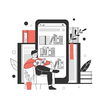 オンライン図書館、書店の概念。本、オーディオブックを読んだりダウンロードしたりするためのアプリケーション。ベクトルイラスト。
