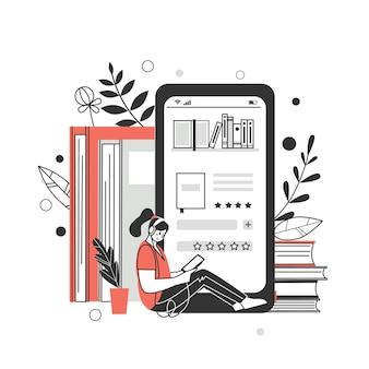 온라인 도서관, 서점의 개념. 책, 오디오 북을 읽고 다운로드하기위한 응용 프로그램입니다. 벡터 일러스트 레이 션.