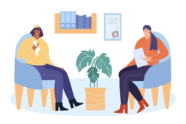 Понятие о психотерапии. женщина-психолог проводит сеанс психотерапии. пациент сидит в кресле и плачет. векторная иллюстрация.