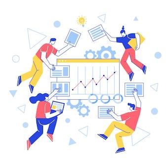 チームビルディングの概念。チームワーク。ベクトル文字が連携して、webサイトを作成します。作業の生産性を向上させます。