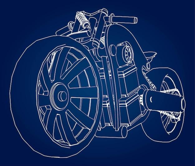Концепция электрического мотоцикла будущего. векторная иллюстрация в контурных линиях.