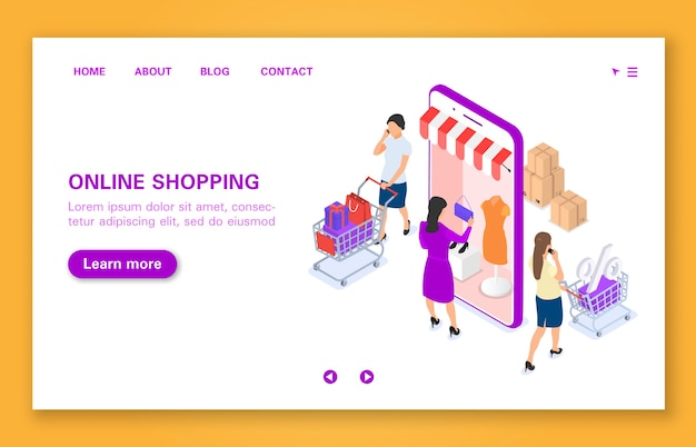 オンラインストアでの女性の買い物の概念