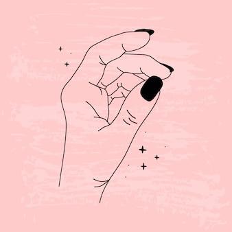 Контур женских рук. розовый текстурированный фон. руки в разных позах.
