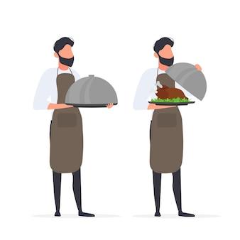 料理人はふた付きの金属皿を持っています。間隔のあるウェイター。孤立。ベクター。