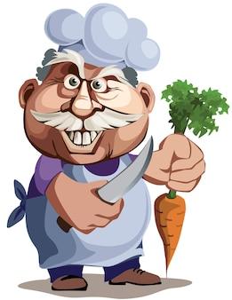 Повар с ножом и морковкой