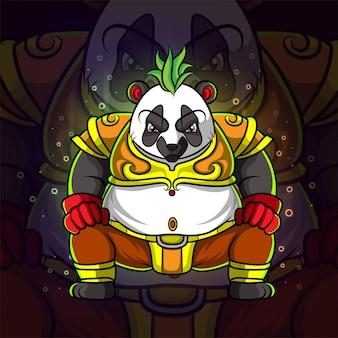 イラストのパンダeスポーツロゴデザインのクールな王様