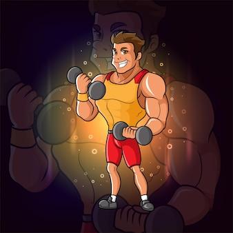 大きな筋肉を持つクールな男は、イラストのeスポーツマスコットデザインのバーベルを保持しています