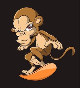 かっこいい猿がボードを遊んでいます