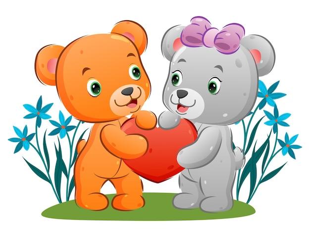 Пара медведей делится и держит свою любовную куклу руками иллюстрации