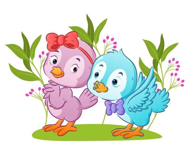 Пара птиц встречается в парке с цветочным орнаментом иллюстрации
