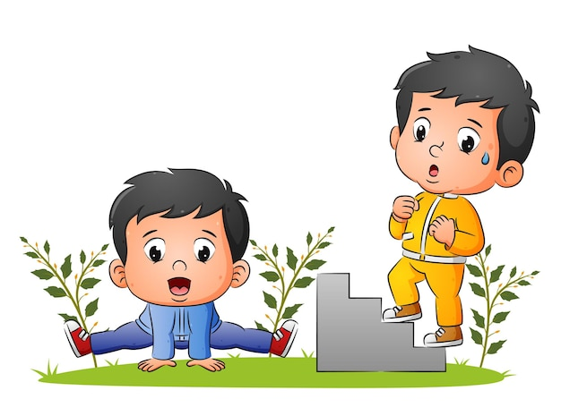 Пара мальчиков занимается гимнастикой и бегает по лестнице в саду иллюстраций.