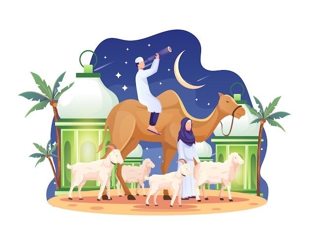 부부는 이드 알 아드하(eid al adha) 일러스트레이션 전날 낙타와 염소와 양을 가져왔습니다.