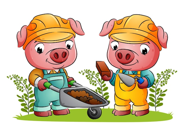 Пара свиней-строителей держит кирпичи и тачку в саду иллюстраций